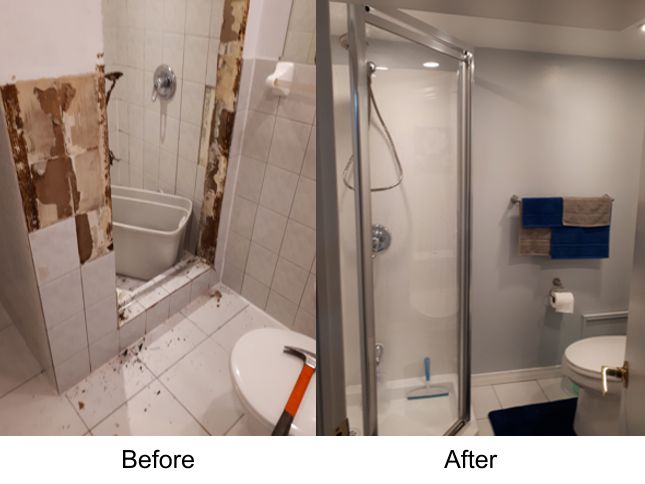 Replace old shower showed that showed signs of water damage