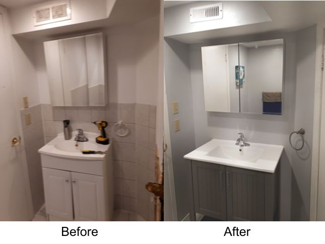 Bathroom reno remove tiled walls and replace vanity