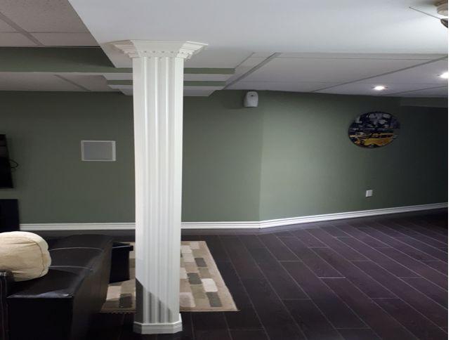 Dark Laminate Floor with roman column
