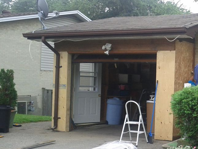 Garage front before installing siding