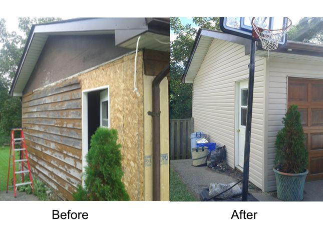 Garage repair before and after