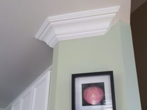 Kitchen upgraded crown moulding installed
